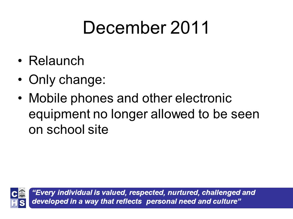 December 2011 Relaunch Only change: Mobile phones and other electronic equipment no longer allowed to be seen on school site