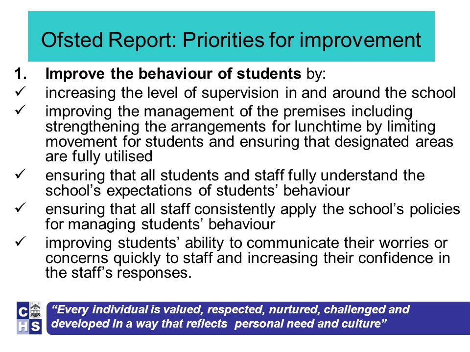 Every individual is valued, respected, nurtured, challenged and developed in a way that reflects personal need and culture Ofsted Report: Priorities for improvement 1.Improve the behaviour of students by: increasing the level of supervision in and around the school improving the management of the premises including strengthening the arrangements for lunchtime by limiting movement for students and ensuring that designated areas are fully utilised ensuring that all students and staff fully understand the school's expectations of students' behaviour ensuring that all staff consistently apply the school's policies for managing students' behaviour improving students' ability to communicate their worries or concerns quickly to staff and increasing their confidence in the staff's responses.