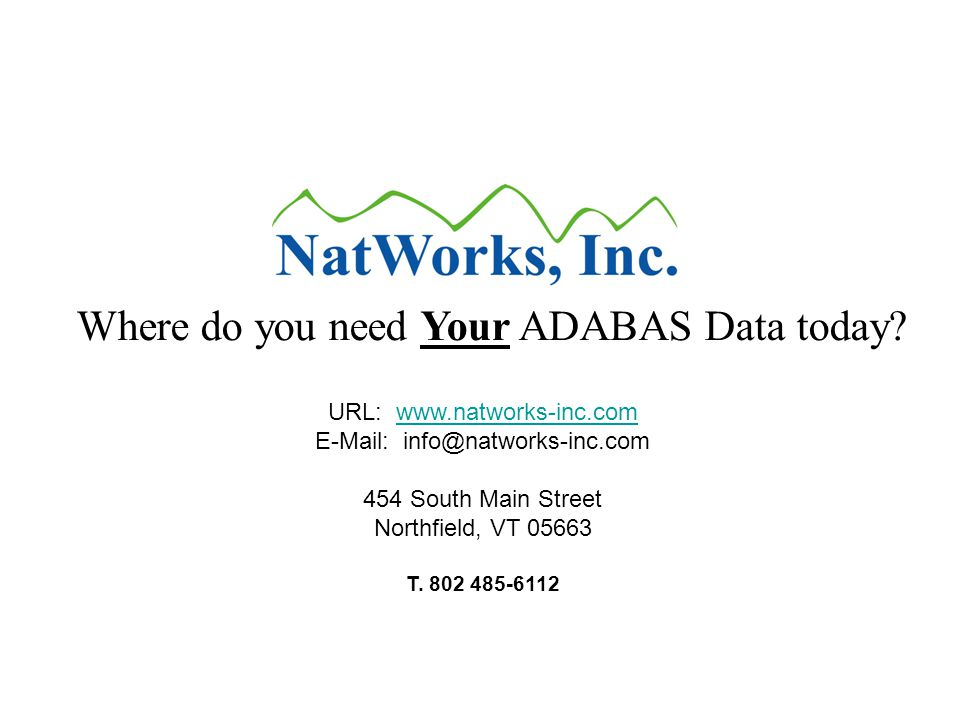 URL: www.natworks-inc.com E-Mail: info@natworks-inc.com 454 South Main Streetwww.natworks-inc.com Northfield, VT 05663 T.