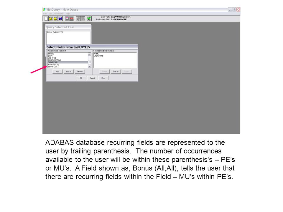 ADABAS database recurring fields are represented to the user by trailing parenthesis.