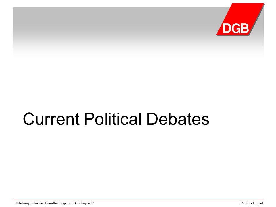 """Abteilung """"Industrie-, Dienstleistungs- und Strukturpolitik""""Dr. Inge Lippert Current Political Debates"""