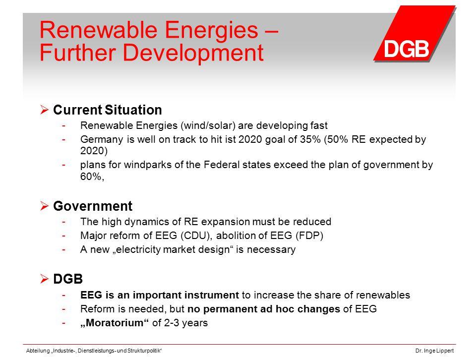 """Abteilung """"Industrie-, Dienstleistungs- und Strukturpolitik""""Dr. Inge Lippert Renewable Energies – Further Development  Current Situation - Renewable"""