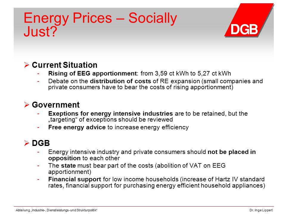 """Abteilung """"Industrie-, Dienstleistungs- und Strukturpolitik""""Dr. Inge Lippert Energy Prices – Socially Just?  Current Situation - Rising of EEG apport"""