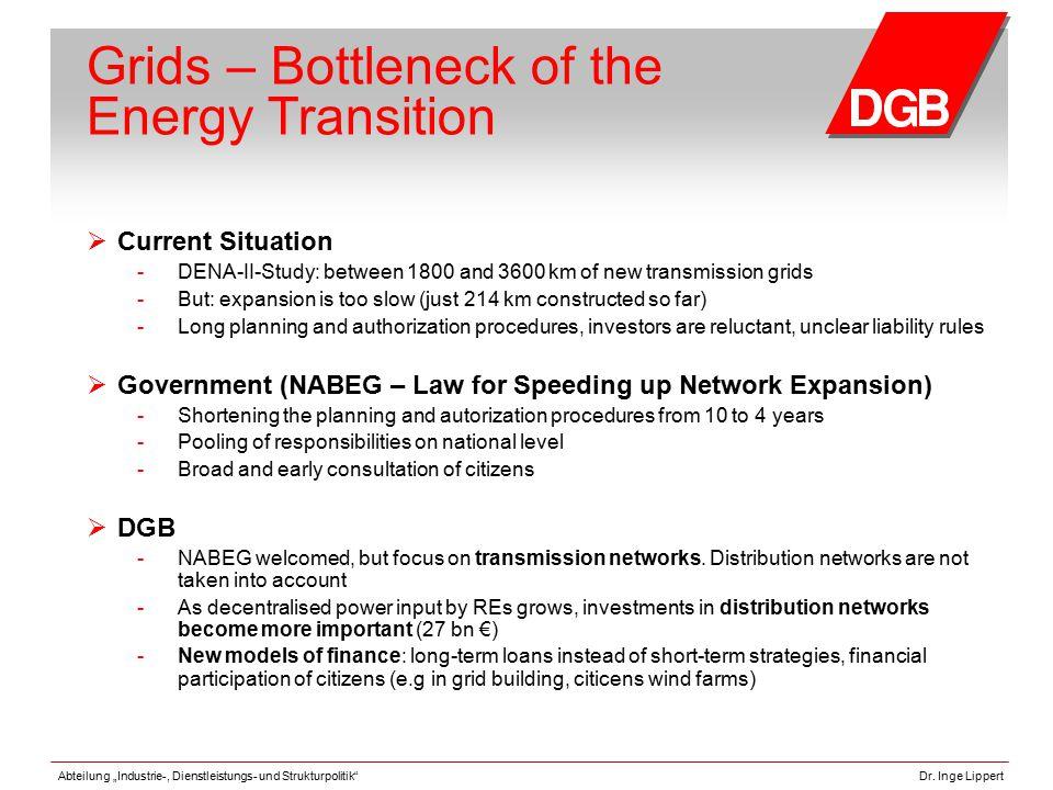 """Abteilung """"Industrie-, Dienstleistungs- und Strukturpolitik""""Dr. Inge Lippert Grids – Bottleneck of the Energy Transition  Current Situation - DENA-II"""