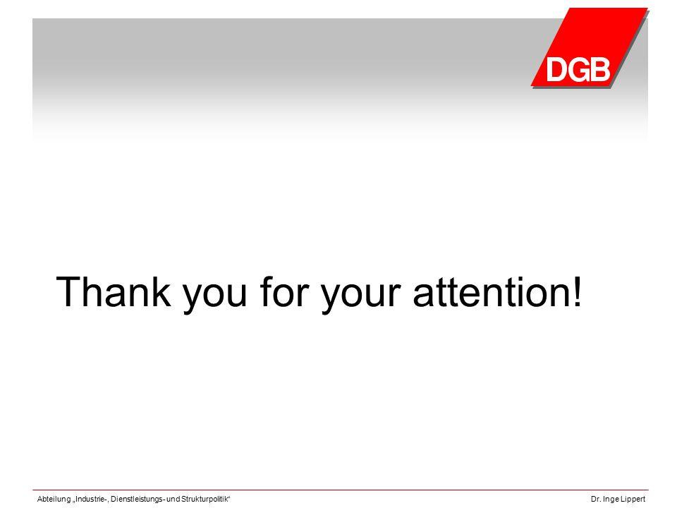 """Abteilung """"Industrie-, Dienstleistungs- und Strukturpolitik""""Dr. Inge Lippert Thank you for your attention!"""