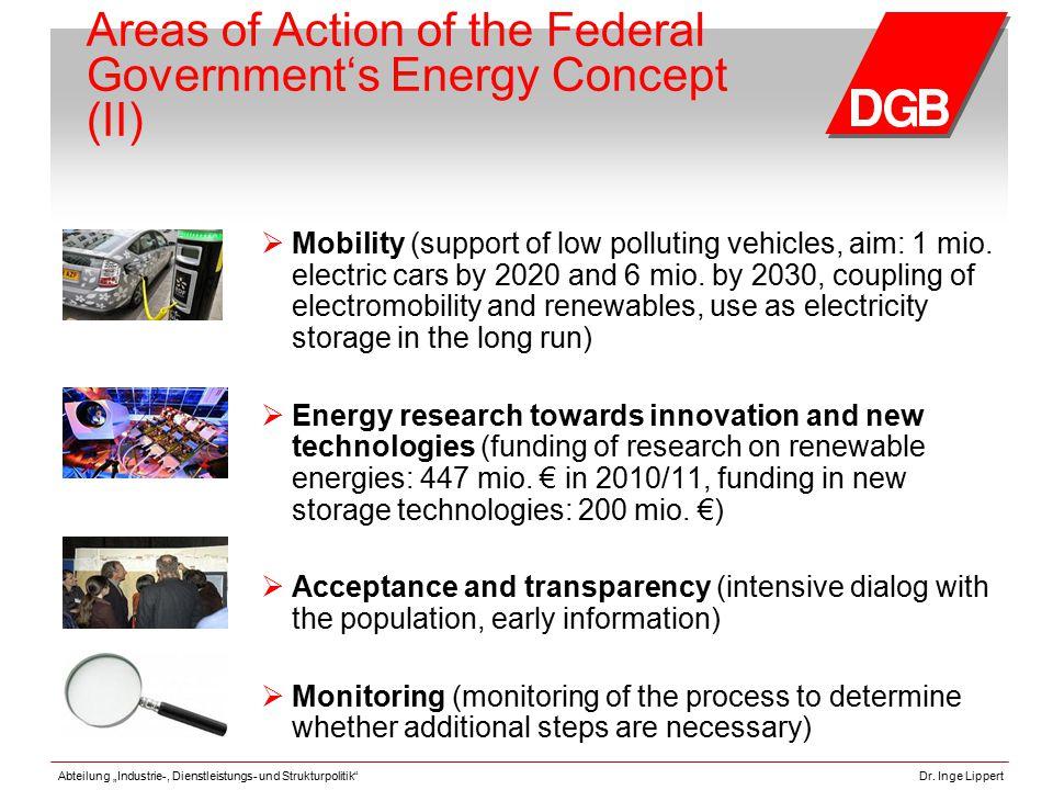 "Abteilung ""Industrie-, Dienstleistungs- und Strukturpolitik""Dr. Inge Lippert Areas of Action of the Federal Government's Energy Concept (II)  Mobilit"
