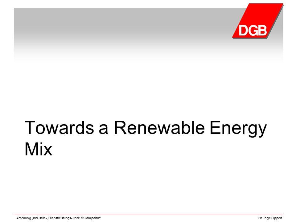 """Abteilung """"Industrie-, Dienstleistungs- und Strukturpolitik""""Dr. Inge Lippert Towards a Renewable Energy Mix"""