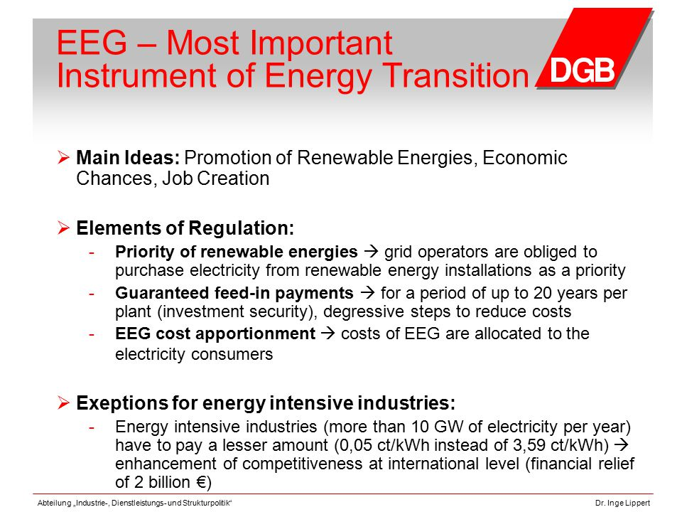 """Abteilung """"Industrie-, Dienstleistungs- und Strukturpolitik""""Dr. Inge Lippert EEG – Most Important Instrument of Energy Transition  Main Ideas: Promot"""