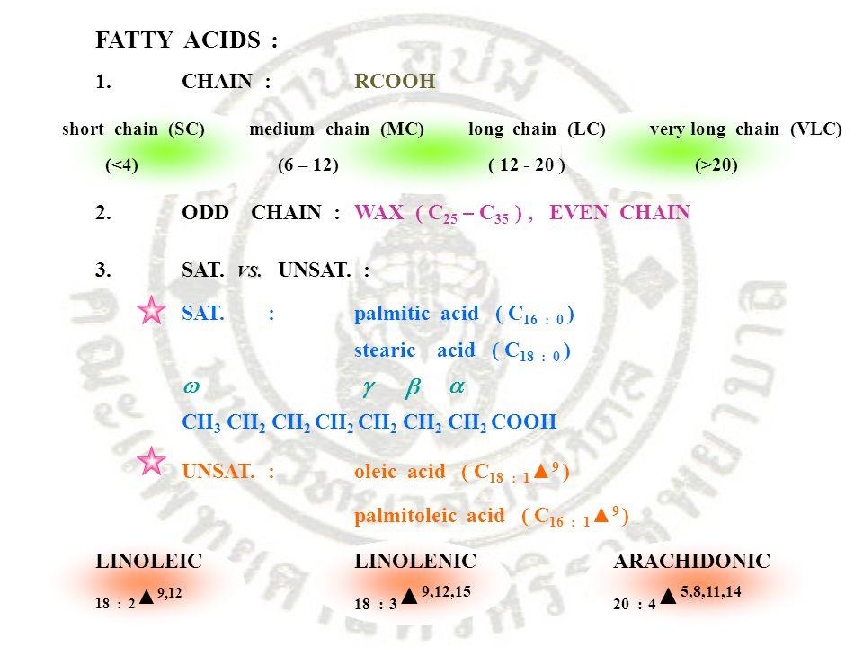 FATTY ACIDS : 1.CHAIN :RCOOH short chain (SC) medium chain (MC) long chain (LC) very long chain (VLC) ( 20) 2.ODD CHAIN :WAX ( C 25 – C 35 ), EVEN CHA