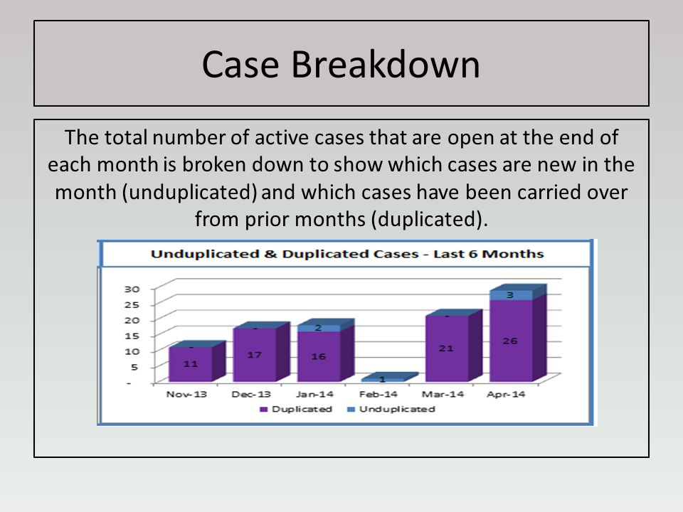 Case Breakdown The total number of active cases that are open at the end of each month is broken down to show which cases are new in the month (unduplicated) and which cases have been carried over from prior months (duplicated).