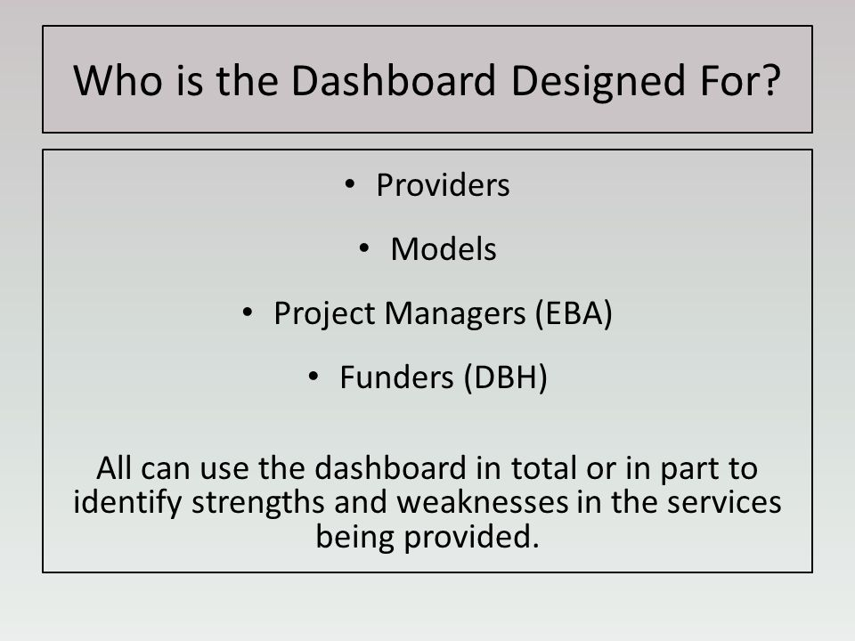 Who is the Dashboard Designed For.