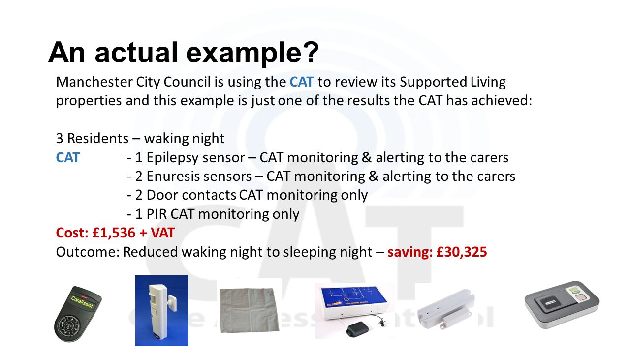 An actual example? Manchester City Council is using the CAT to review its Supported Living properties and this example is just one of the results the