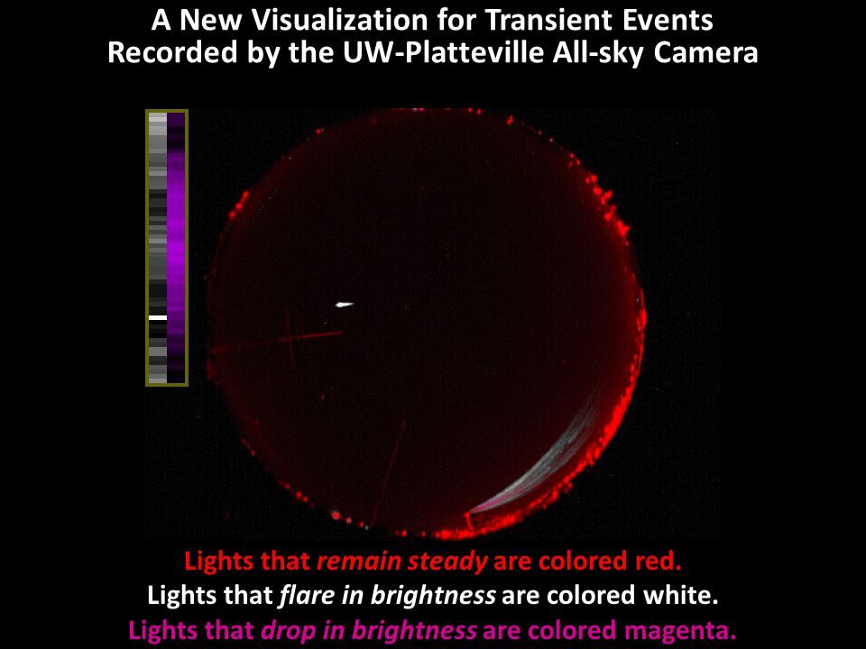 A New Visualization for Transient Events Recorded by the UW-Platteville All-sky Camera This is the transient event without the unchanging light.