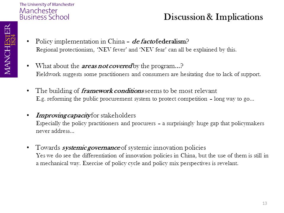 13 Policy implementation in China – de facto federalism.
