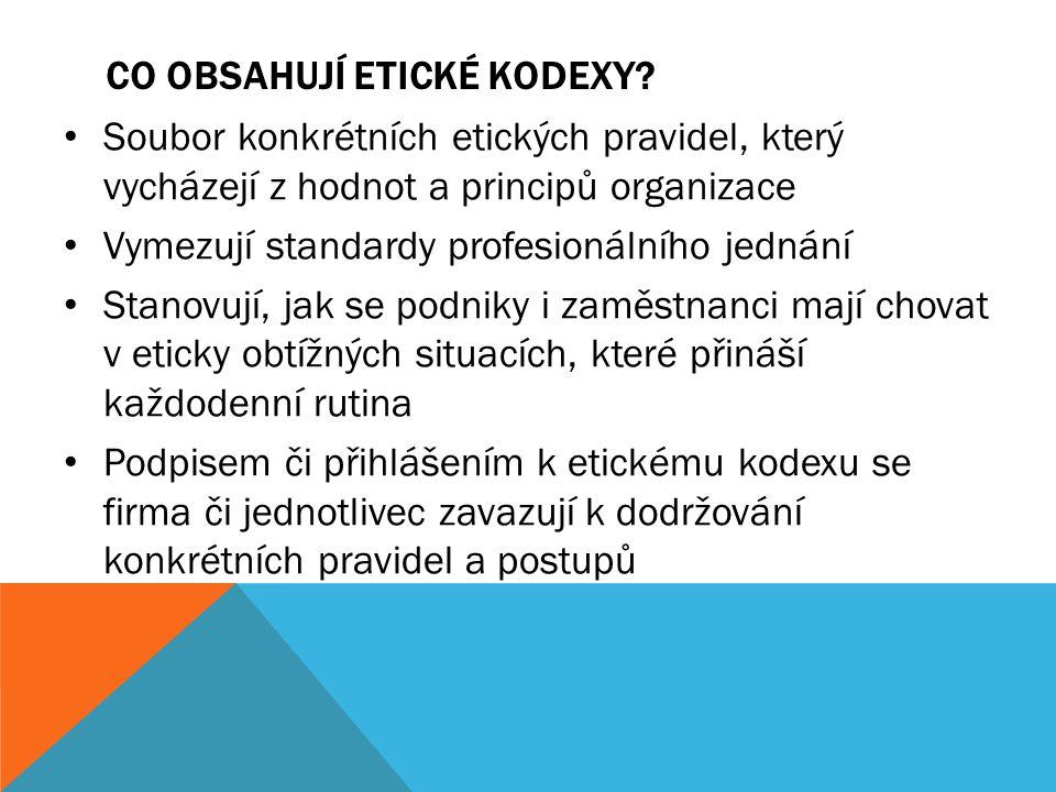 CO OBSAHUJÍ ETICKÉ KODEXY? Soubor konkrétních etických pravidel, který vycházejí z hodnot a principů organizace Vymezují standardy profesionálního jed