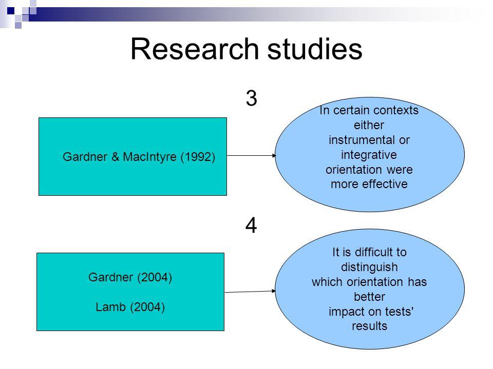 Research studies 3434 Gardner & MacIntyre (1992) In certain contexts either instrumental or integrative orientation were more effective Gardner (2004)