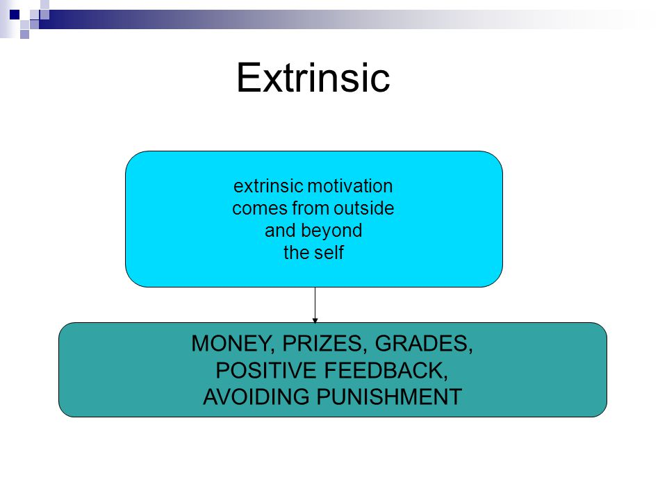 extrinsic motivation comes from outside and beyond the self MONEY, PRIZES, GRADES, POSITIVE FEEDBACK, AVOIDING PUNISHMENT Extrinsic