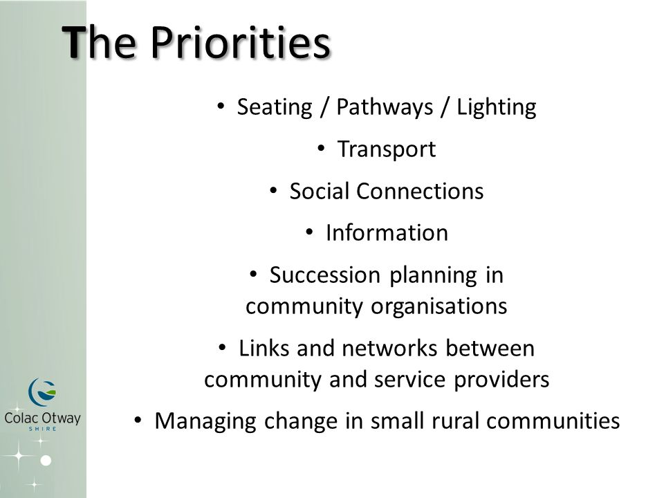 The Priorities Seating / Pathways / Lighting Transport Social Connections Information Succession planning in community organisations Links and networks between community and service providers Managing change in small rural communities