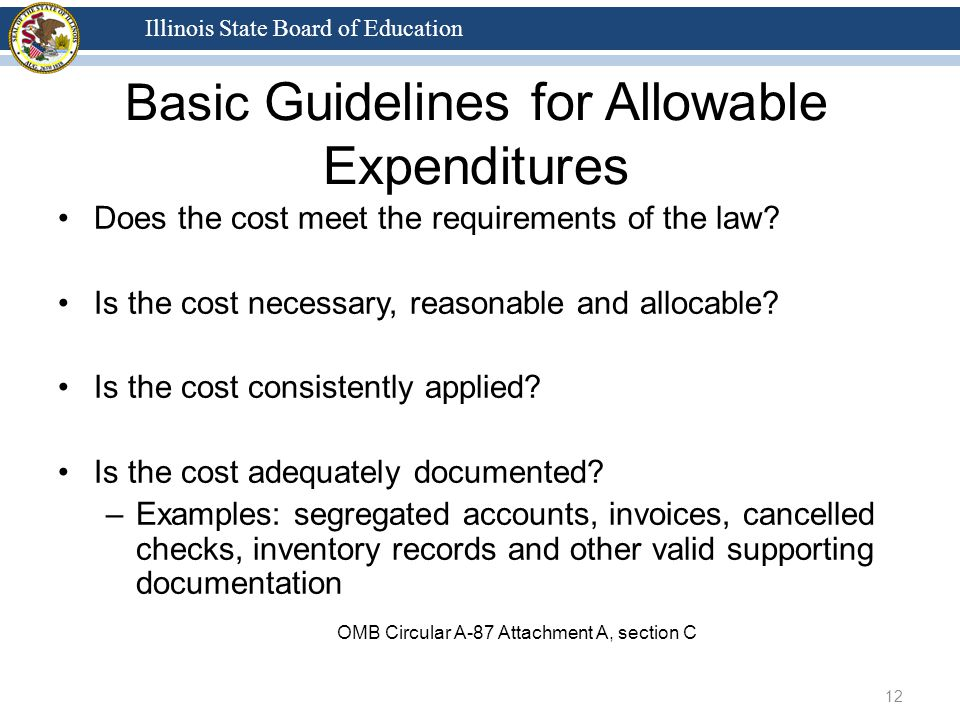 Illinois State Board of Education Does the cost meet the requirements of the law.