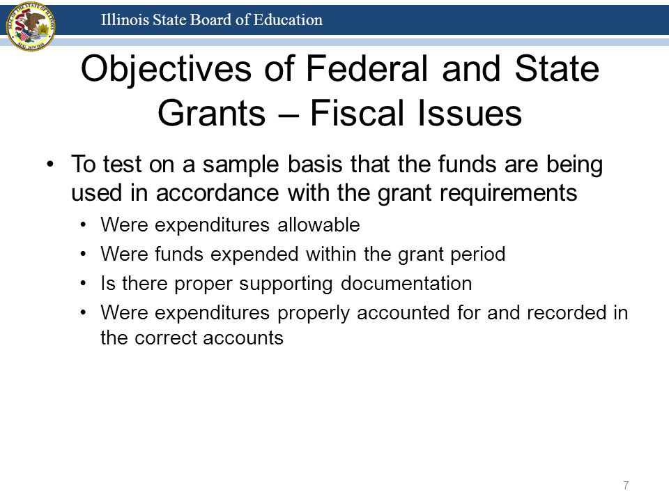 Illinois State Board of Education Objectives of Federal and State Grants – Fiscal Issues To test on a sample basis that the funds are being used in accordance with the grant requirements Were expenditures allowable Were funds expended within the grant period Is there proper supporting documentation Were expenditures properly accounted for and recorded in the correct accounts 7