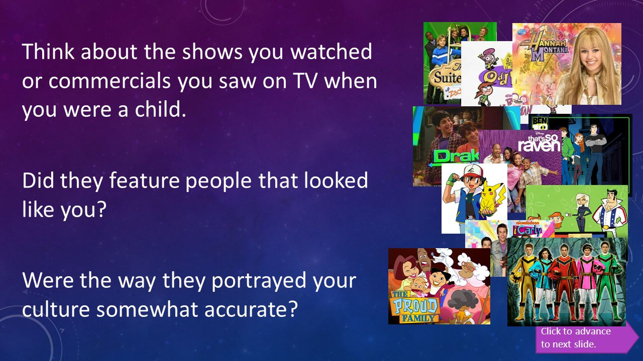 Think about the shows you watched or commercials you saw on TV when you were a child. Did they feature people that looked like you? Were the way they