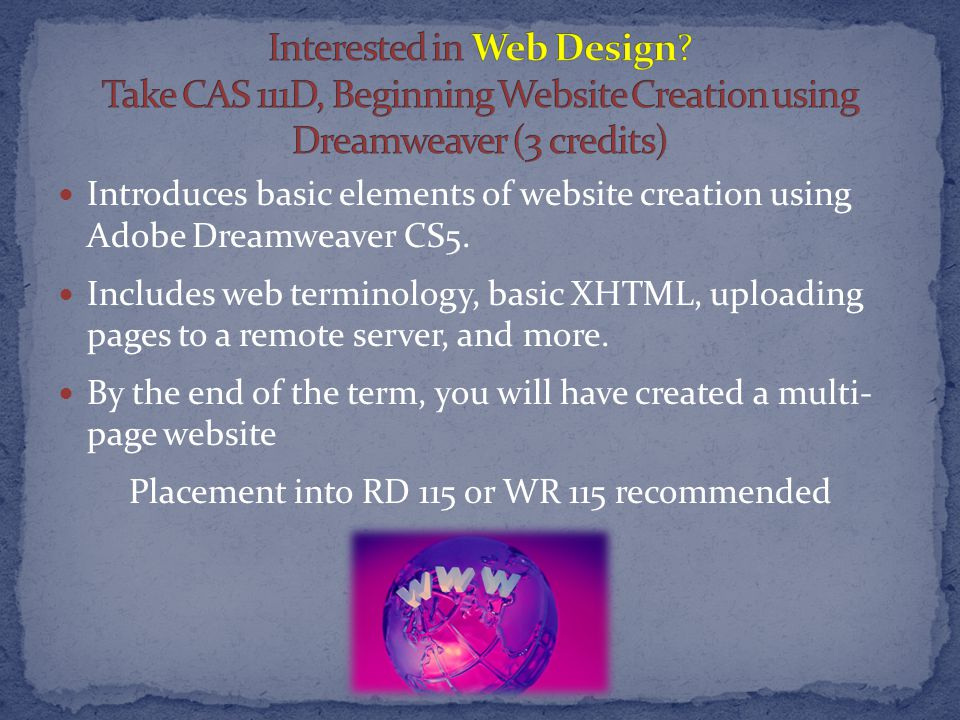 Introduces basic elements of website creation using Adobe Dreamweaver CS5.
