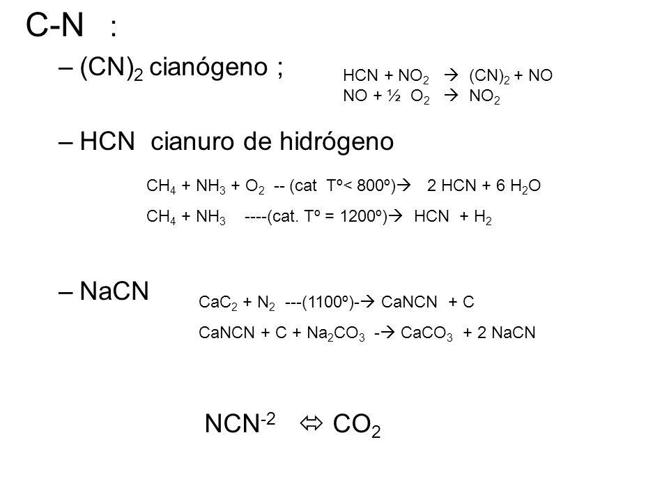 C-N : –(CN) 2 cianógeno ; –HCN cianuro de hidrógeno –NaCN HCN + NO 2  (CN) 2 + NO NO + ½ O 2  NO 2 CH 4 + NH 3 + O 2 -- (cat Tº< 800º)  2 HCN + 6 H 2 O CH 4 + NH 3 ----(cat.