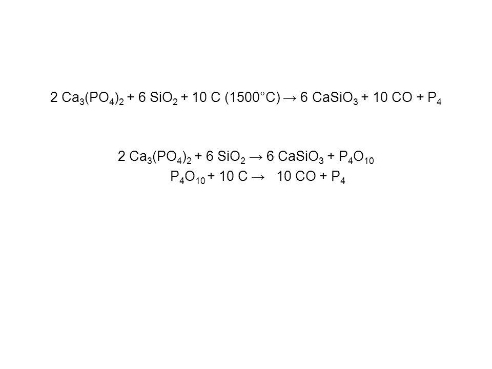 2 Ca 3 (PO 4 ) 2 + 6 SiO 2 + 10 C (1500°C) → 6 CaSiO 3 + 10 CO + P 4 2 Ca 3 (PO 4 ) 2 + 6 SiO 2 → 6 CaSiO 3 + P 4 O 10 P 4 O 10 + 10 C → 10 CO + P 4