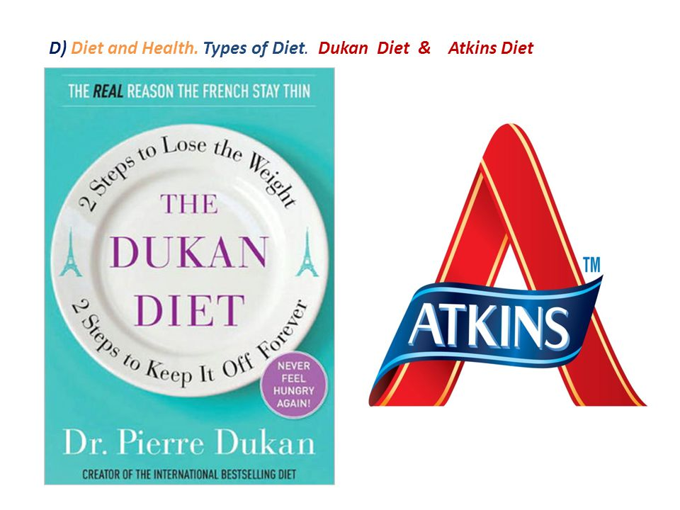 D) Diet and Health. Types of Diet. Dukan Diet & Atkins Diet