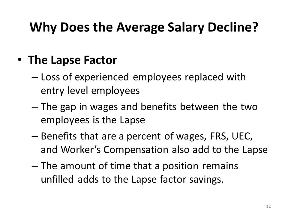Why Does the Average Salary Decline? The Lapse Factor – Loss of experienced employees replaced with entry level employees – The gap in wages and benef