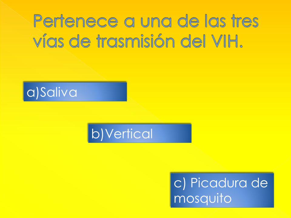 a)SalivaSaliva a)SalivaSaliva b)Vertical c) Picadura de mosquito c) Picadura de mosquito