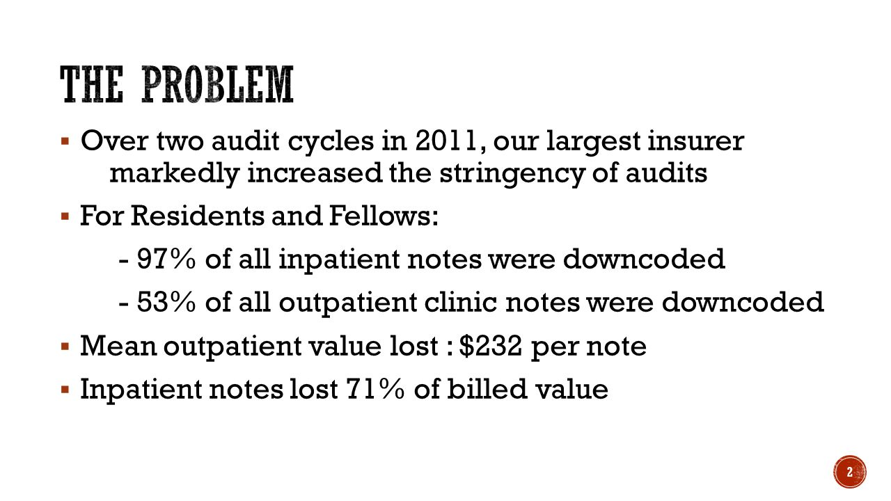 3 % of Correct Notes Over one year, we reduced downcodes from 54% to zero.