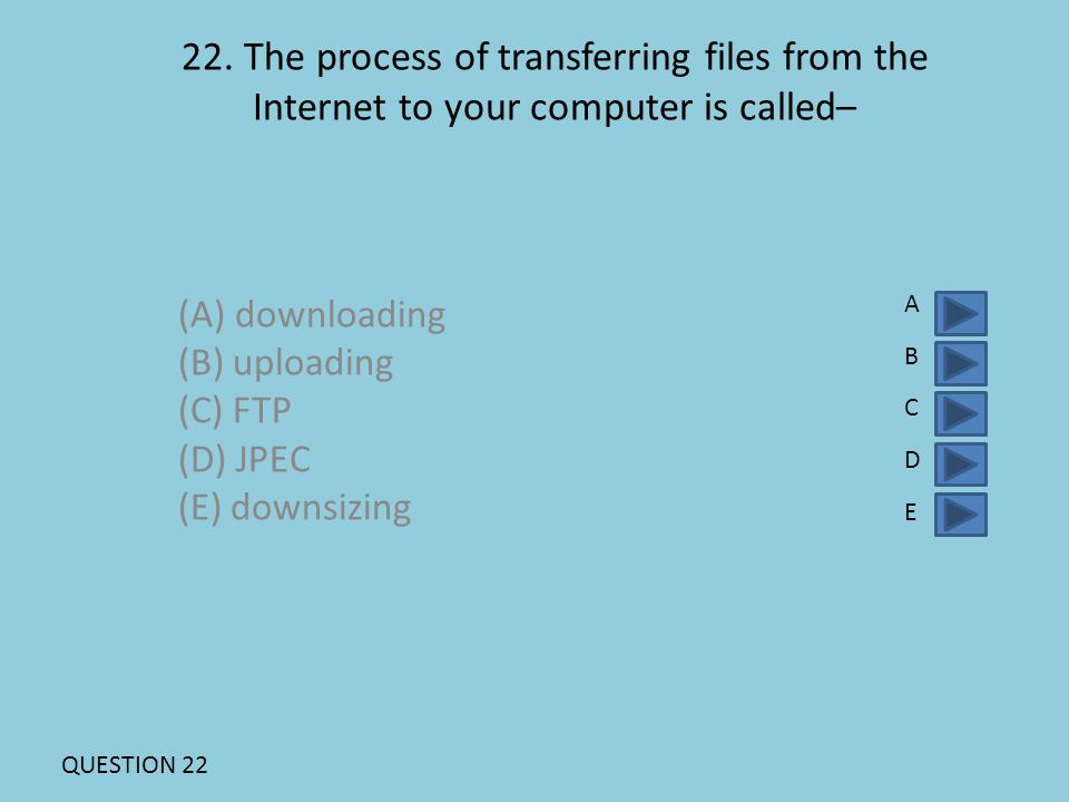22. The process of transferring files from the Internet to your computer is called– (A) downloading (B) uploading (C) FTP (D) JPEC (E) downsizing ABCD