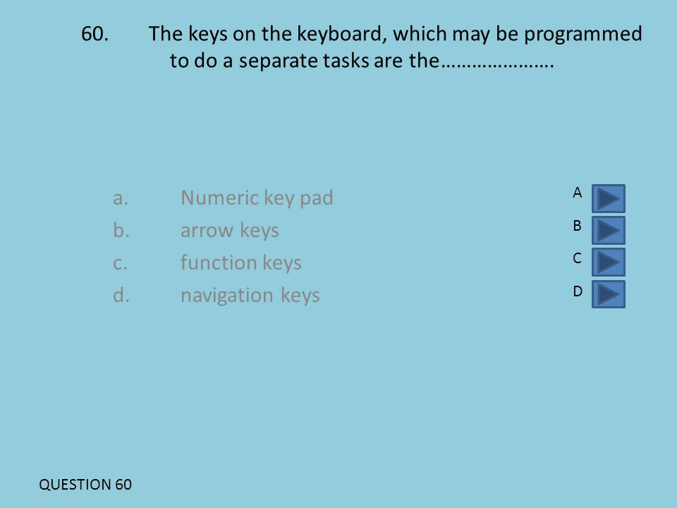 60.The keys on the keyboard, which may be programmed to do a separate tasks are the…………………. a.Numeric key pad b.arrow keys c.function keys d.navigatio