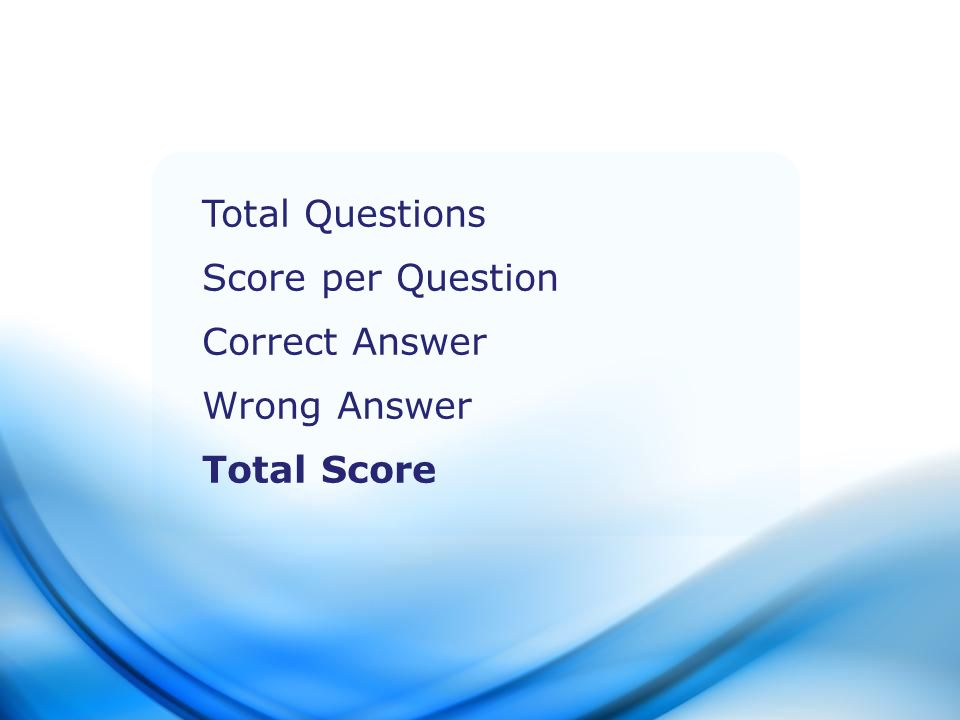 Total Questions Score per Question Correct Answer Wrong Answer Total Score