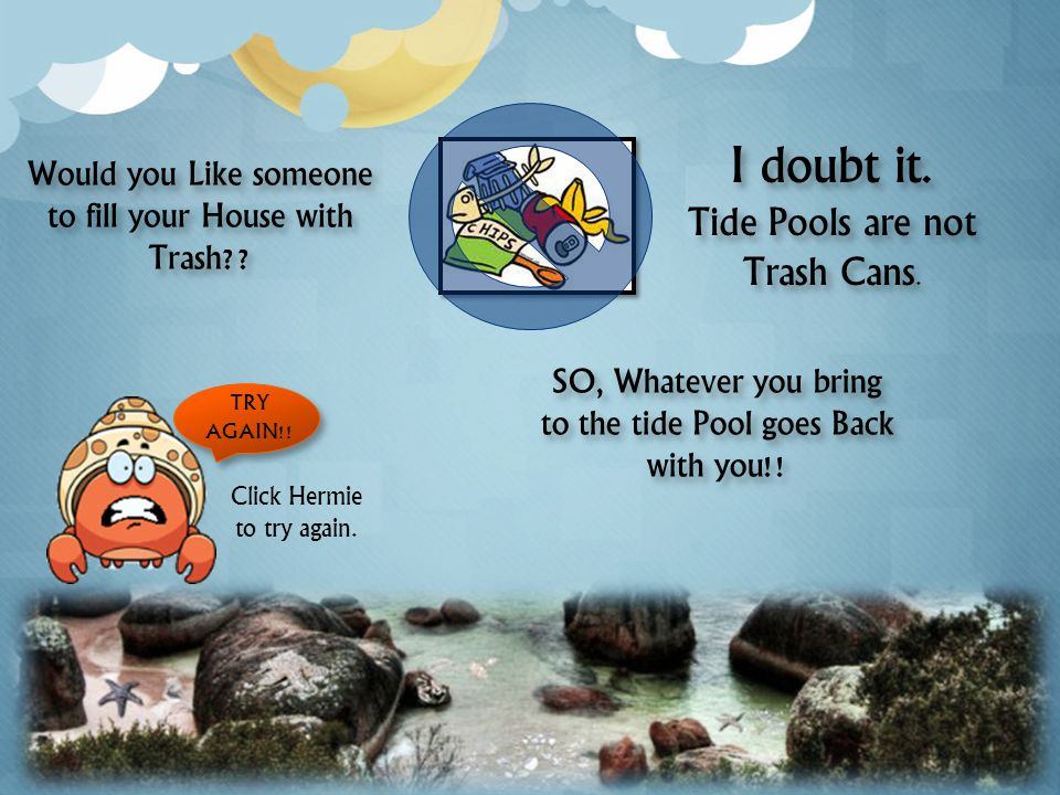 Just throw your trash in the tide pool. The organisms will get rid of it for you.