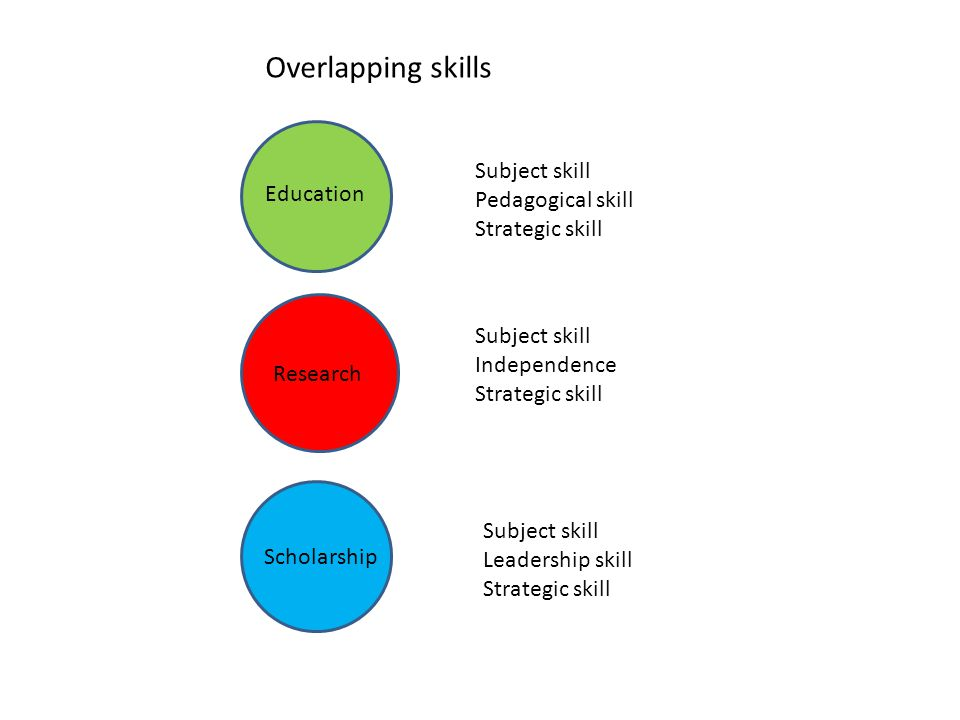 Education Research Scholarship Subject skill Pedagogical skill Strategic skill Subject skill Independence Strategic skill Subject skill Leadership skill Strategic skill Overlapping skills