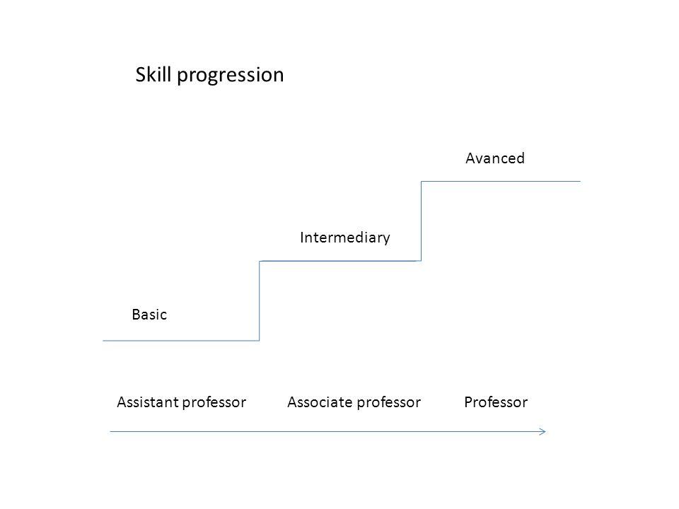 Basic Intermediary Avanced Skill progression Assistant professor Associate professor Professor