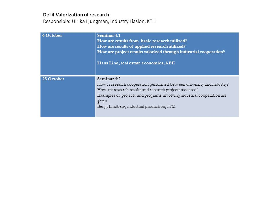 6 OctoberSeminar 4.1 How are results from basic research utilized.