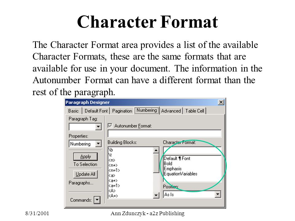8/31/2001Ann Zdunczyk - a2z Publishing The Character Format area provides a list of the available Character Formats, these are the same formats that are available for use in your document.