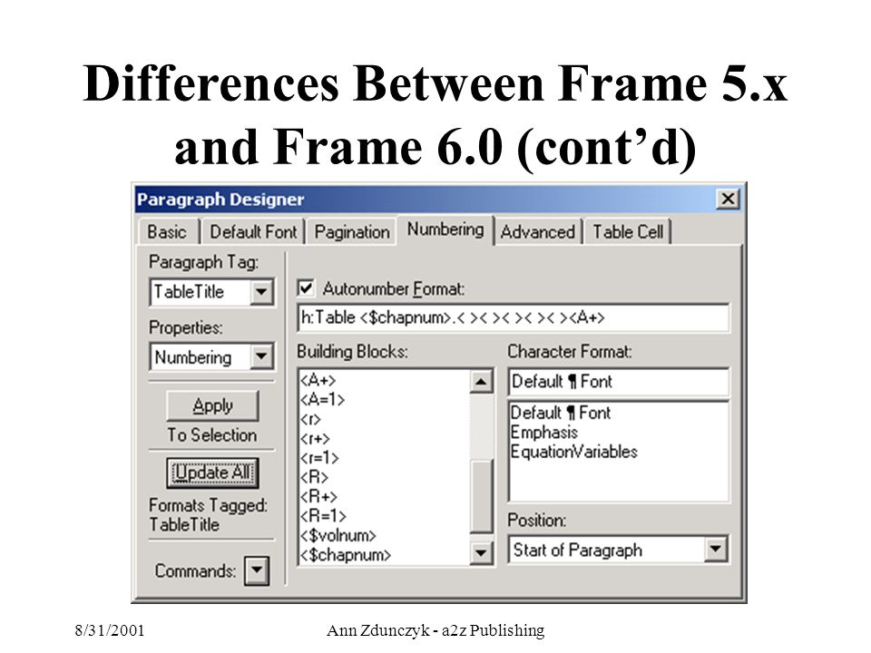 8/31/2001Ann Zdunczyk - a2z Publishing Differences Between Frame 5.x and Frame 6.0 (cont'd)