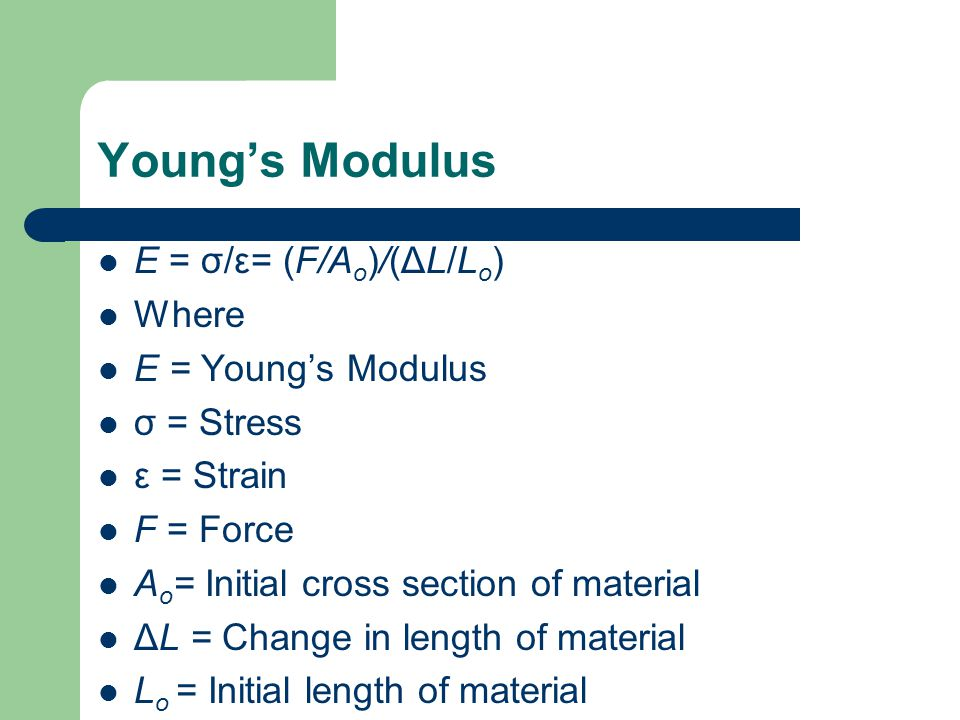 Young's Modulus E = σ/ε= (F/A o )/(ΔL/L o ) Where E = Young's Modulus σ = Stress ε = Strain F = Force A o = Initial cross section of material ΔL = Change in length of material L o = Initial length of material