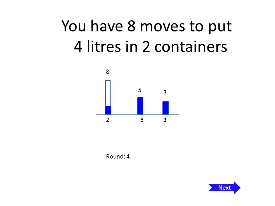 You have 8 moves to put 4 litres in 2 containers 8 5 3 5 1 270 Round: 5 Next