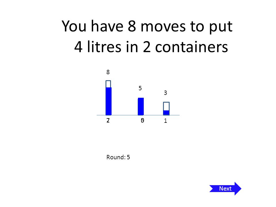 You have 8 moves to put 4 litres in 2 containers 8 5 3 1 1 7 0 0 Round: 6 Next