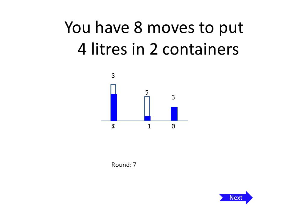 You have 8 moves to put 4 litres in 2 containers 8 5 3 13440 Round: 8 Can you write a program that allows the user to play this game online, dragging quantity from one container to the next until the target is achieved with a maximum of 8 moves.