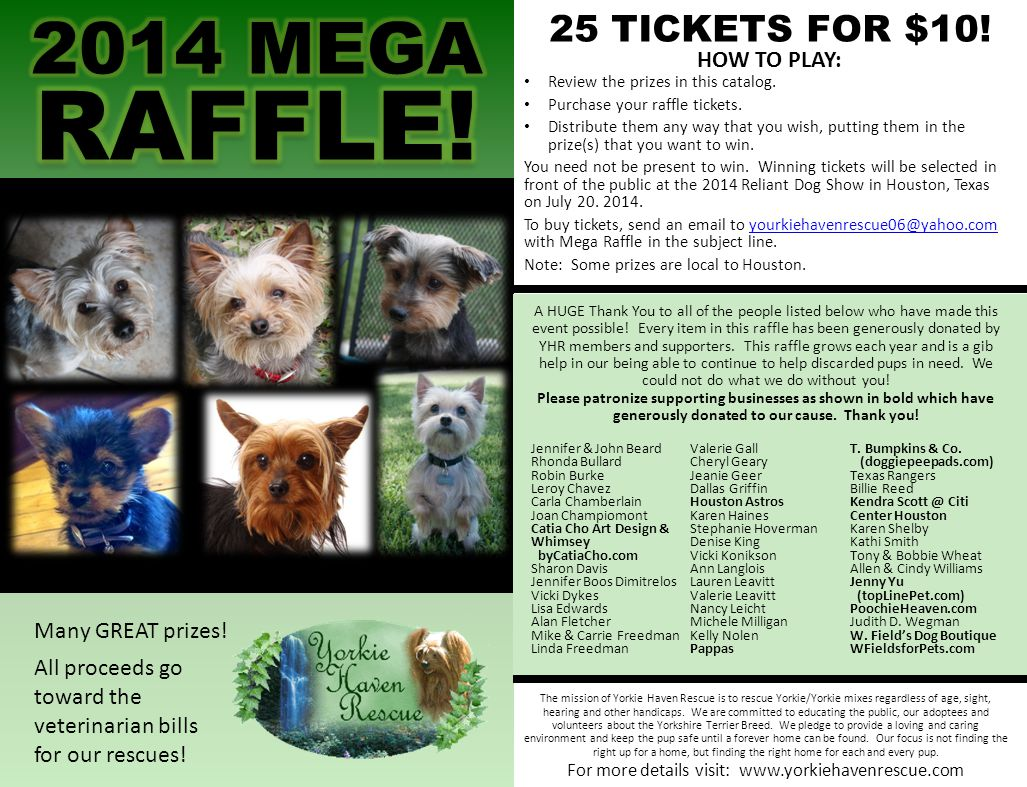 Many GREAT prizes! All proceeds go toward the veterinarian bills for our rescues! The mission of Yorkie Haven Rescue is to rescue Yorkie/Yorkie mixes