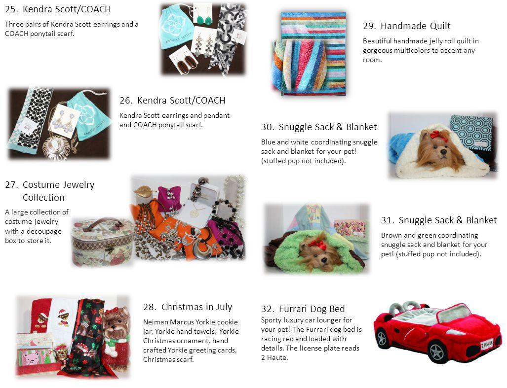 25.Kendra Scott/COACH Three pairs of Kendra Scott earrings and a COACH ponytail scarf. 26.Kendra Scott/COACH Kendra Scott earrings and pendant and COA