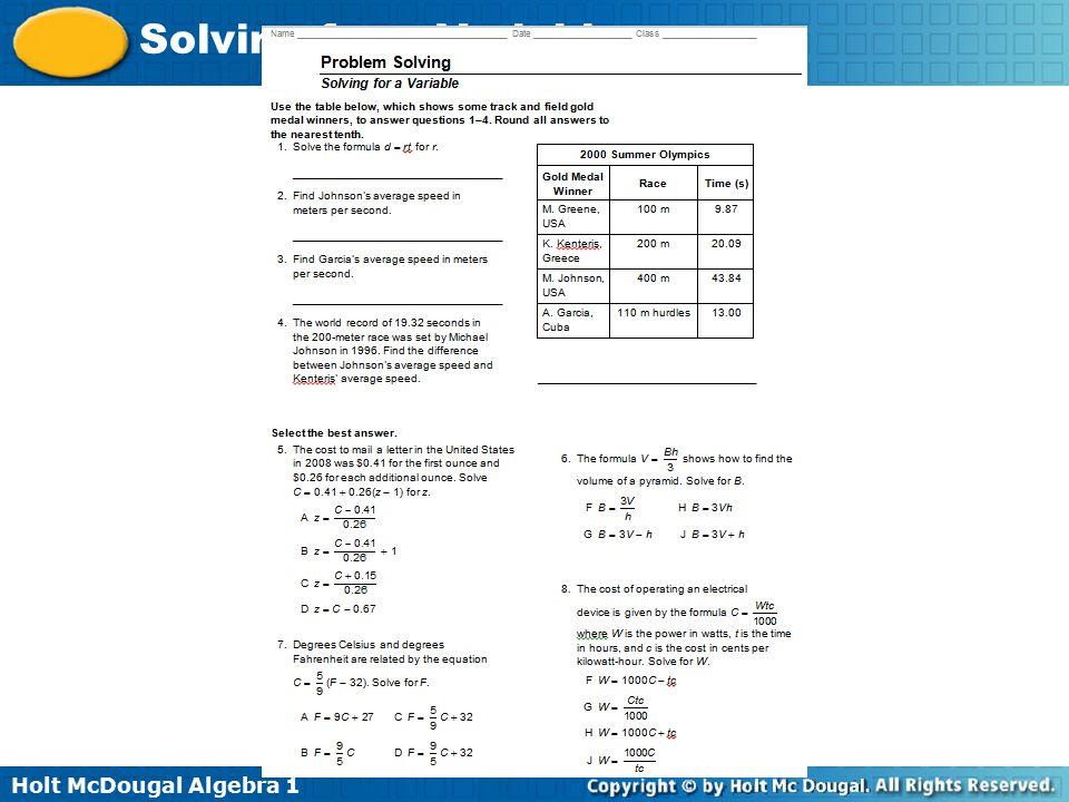 Holt McDougal Algebra 1 Solving for a Variable