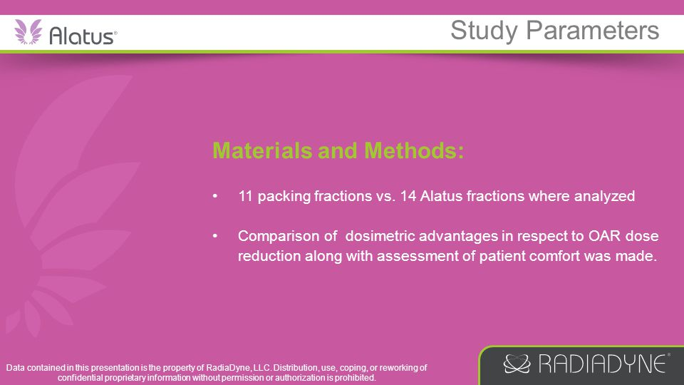 Materials and Methods: 11 packing fractions vs. 14 Alatus fractions where analyzed Comparison of dosimetric advantages in respect to OAR dose reductio