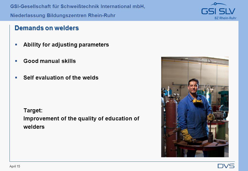 GSI-Gesellschaft für Schweißtechnik International mbH, Niederlassung Bildungszentren Rhein-Ruhr April 15 Thank you very much for your attention !